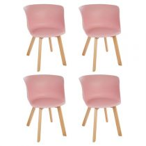 "Lot de 4 Chaises Design ""Celo"" 74cm Rose"