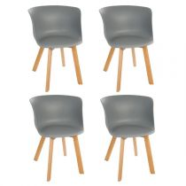 "Lot de 4 Chaises Design ""Celo"" 74cm Gris"
