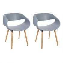 "Lot de 2 Chaises Design ""Gena"" 74cm Gris"
