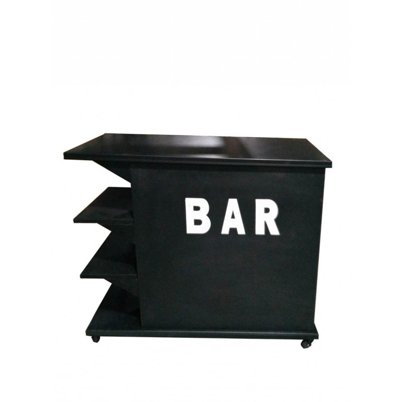table de bar en m tal indus 120cm noir. Black Bedroom Furniture Sets. Home Design Ideas
