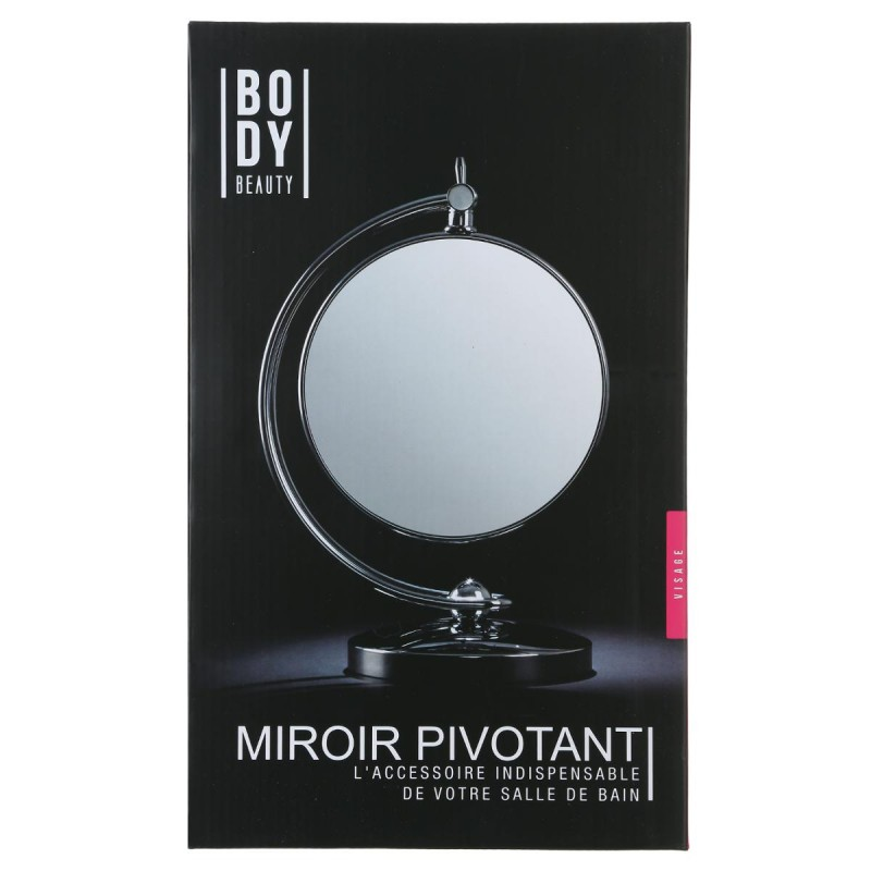 Miroir poser pivotant double face argent for Miroir double face