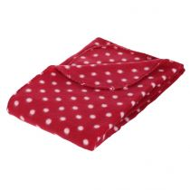 "Plaid Polaire ""Pois"" 125x150cm Rouge"