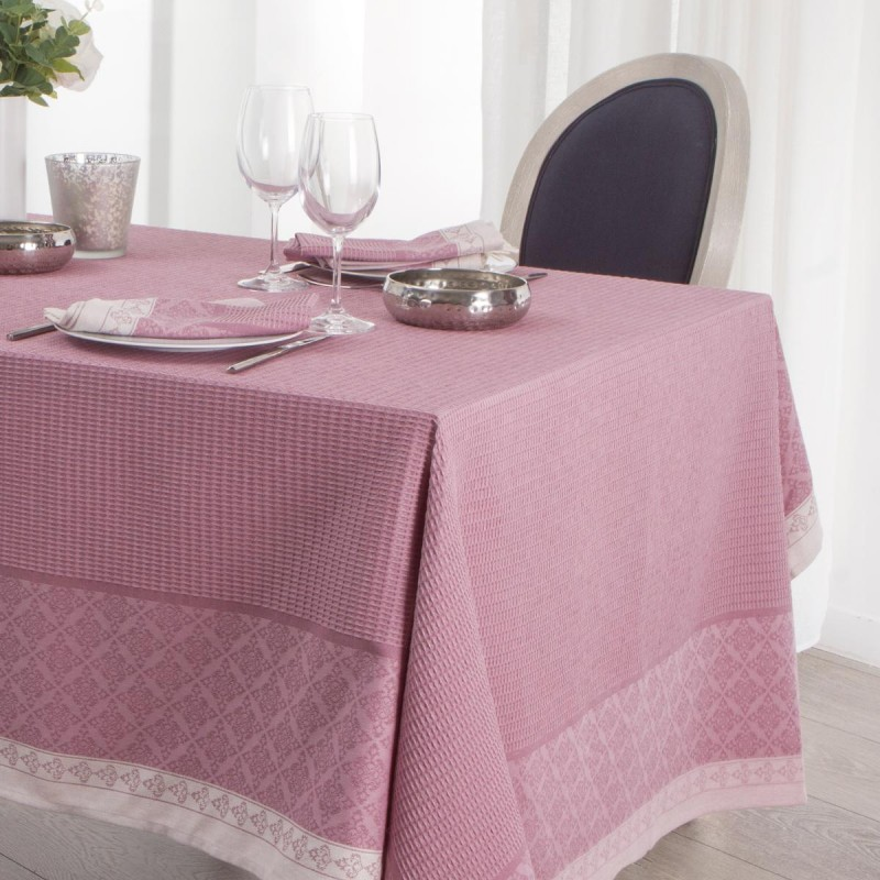 nappe jacquard nid d 39 abeille 140x240cm rose. Black Bedroom Furniture Sets. Home Design Ideas