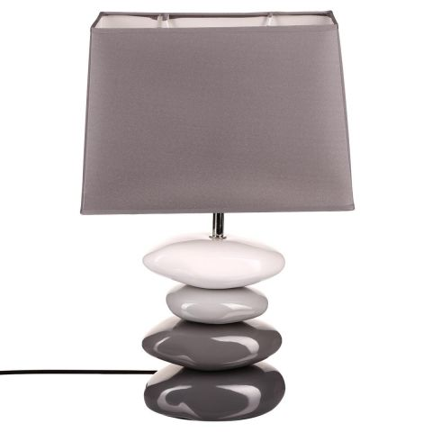 lampe poser c ramique galet 46cm gris. Black Bedroom Furniture Sets. Home Design Ideas