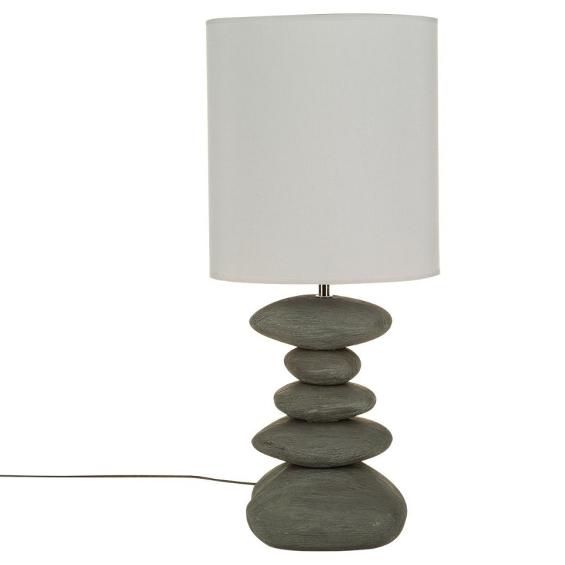 lampe poser c ramique galet stri 57cm gris. Black Bedroom Furniture Sets. Home Design Ideas