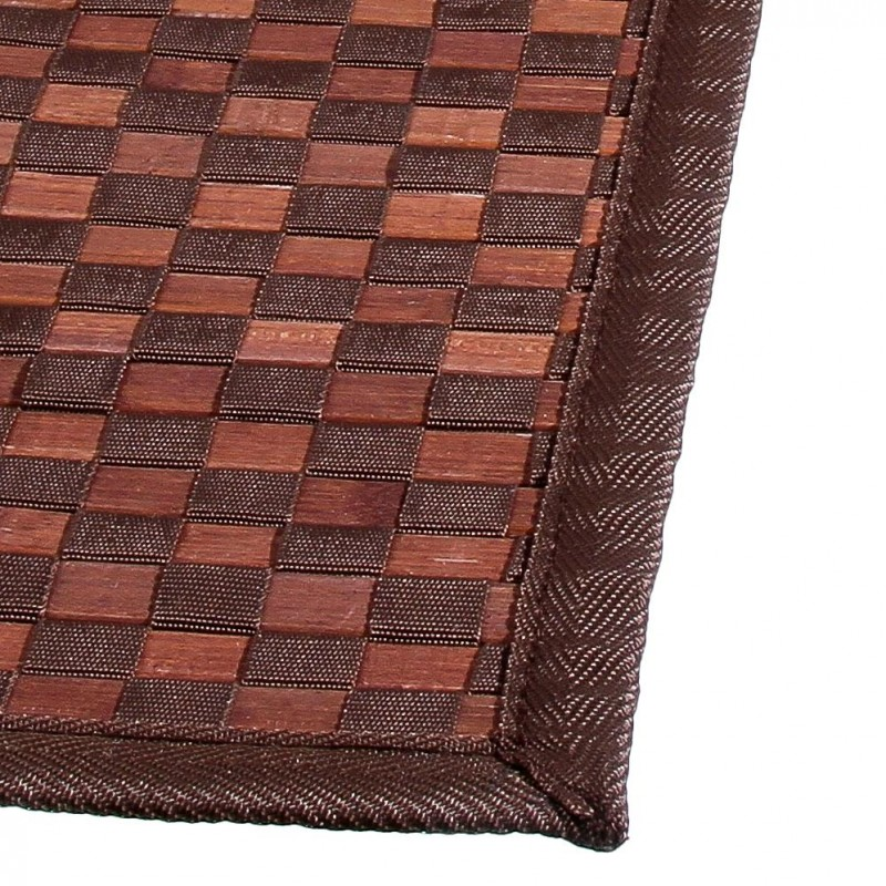 tapis en bambou damier 50x80cm chocolat. Black Bedroom Furniture Sets. Home Design Ideas
