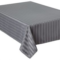 "Nappe Anti-Tâches ""Jacquard Rayures"" 140x240 Gris"