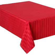 "Nappe Anti-Tâches ""Jacquard Rayures"" 140x240 Rouge"