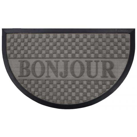 tapis d 39 entr e demi lune bonjour 45x75 cm gris. Black Bedroom Furniture Sets. Home Design Ideas
