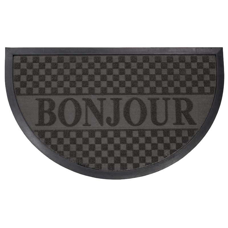tapis d 39 entr e 45x75 cm demi lune bonjour noir. Black Bedroom Furniture Sets. Home Design Ideas