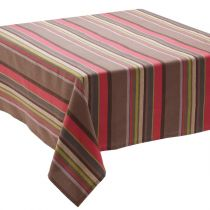 """Nappe """"Rayures"""" 150x150cm Taupe"""