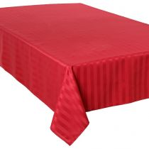 "Nappe Anti-Tâches ""Jacquard Rayures"" 150x300cm Rouge"