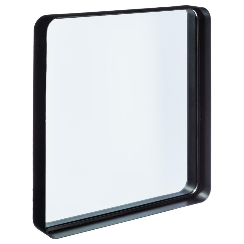 Miroir en m tal contemporain 39x38cm noir for Miroir en metal