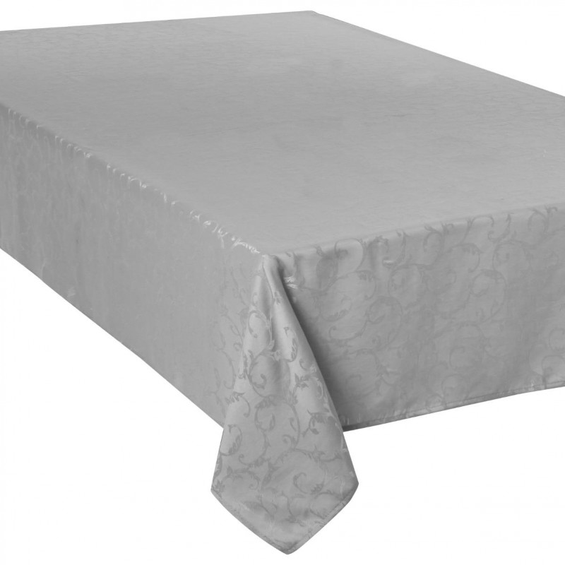 nappe anti t ches jacquard arabesque 150x300cm gris clair. Black Bedroom Furniture Sets. Home Design Ideas