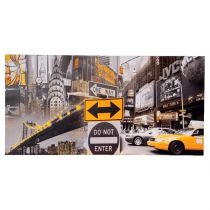 "Toile Imprimé ""Do Not Enter New-York"" 120cm Gris & Jaune"
