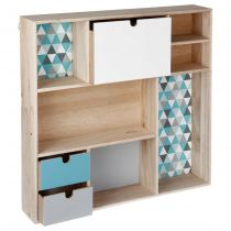 "Étagère Cube ""Happy Scandinave"" 48cm Bleu & Naturel"