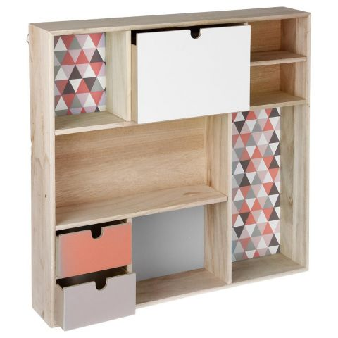 "Étagère Cube ""Happy Scandinave"" 48cm Rose & Naturel"