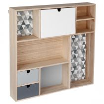"Étagère Cube ""Happy Scandinave"" 48cm Gris & Naturel"