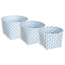 "Lot de 3 Paniers Ronds ""Color"" Bleu"