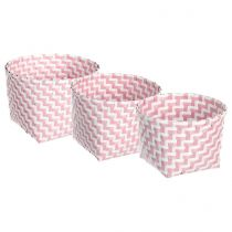 "Lot de 3 Paniers Ronds ""Color"" Rose"