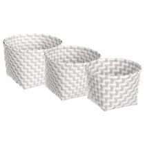 "Lot de 3 Paniers Ronds ""Color"" Gris"