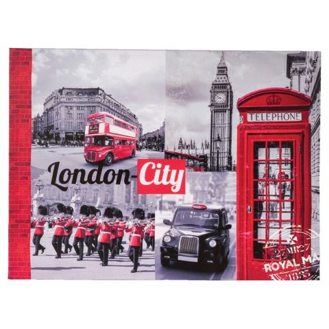 "Toile Imprimée ""London City"" 78cm Rouge"