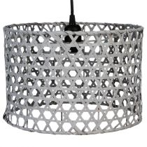 "Lampe Suspension Bambou ""Yazu"" 30cm Gris"