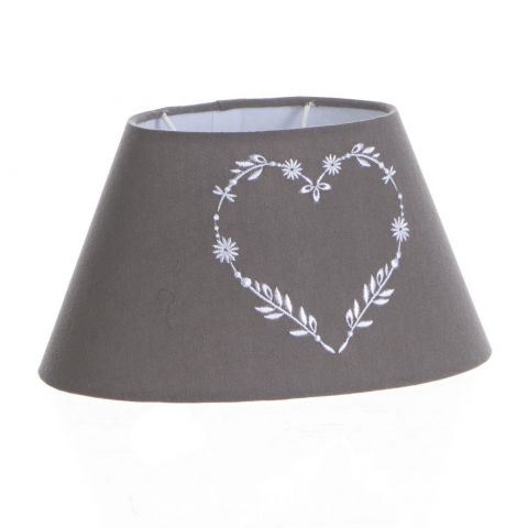 """Abat-Jour Oval """"Coeur"""" 14cm Taupe"""