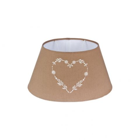 "Abat-Jour Oval ""Coeur"" 16cm Taupe"