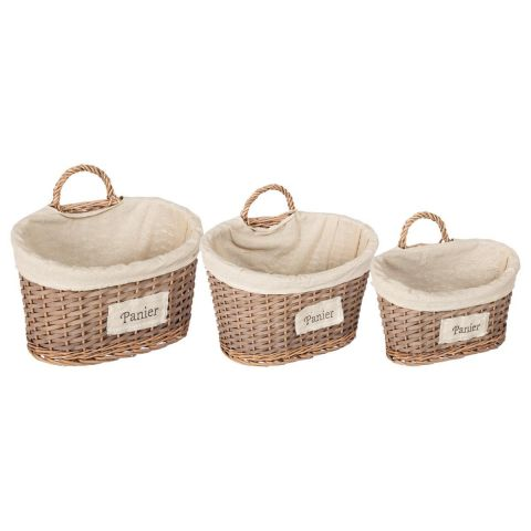 "Set de 3 Paniers Muraux ""Chic"" Marron"
