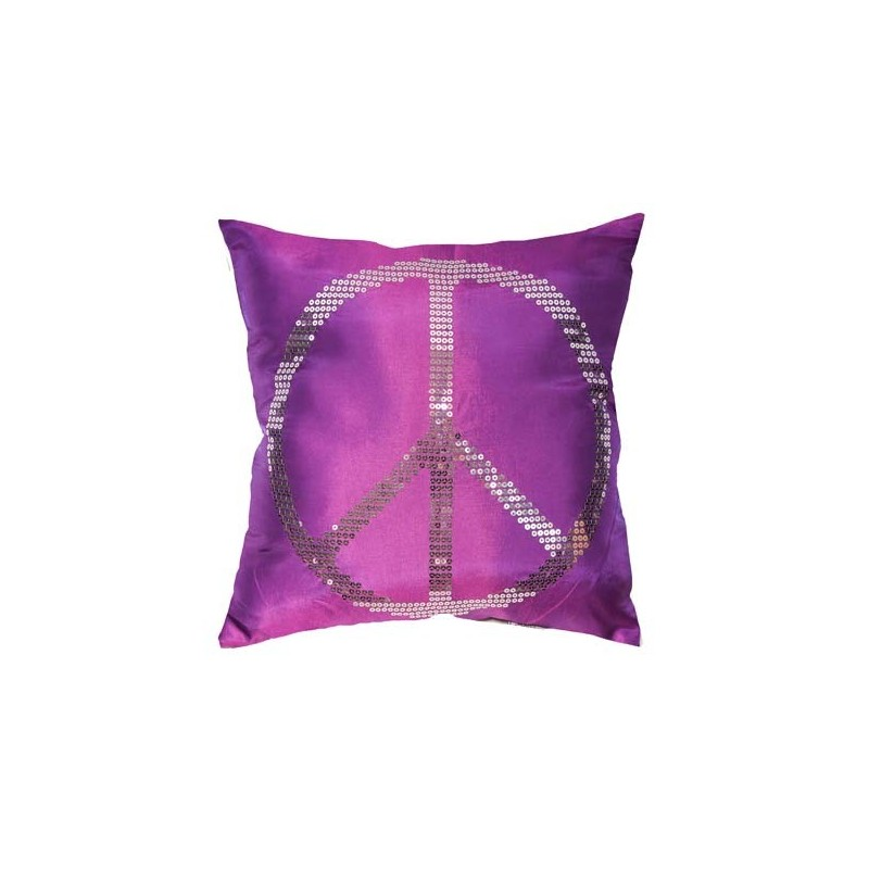housse de coussin 40x40cm peace love violet. Black Bedroom Furniture Sets. Home Design Ideas