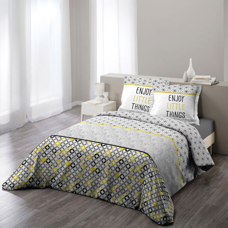 parure de lit 3 pi ces remix 240x260cm jaune. Black Bedroom Furniture Sets. Home Design Ideas