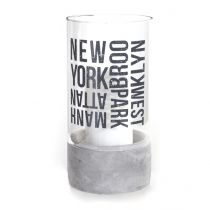 "Photophore en Verre ""New York"" 20 cm Transparent"