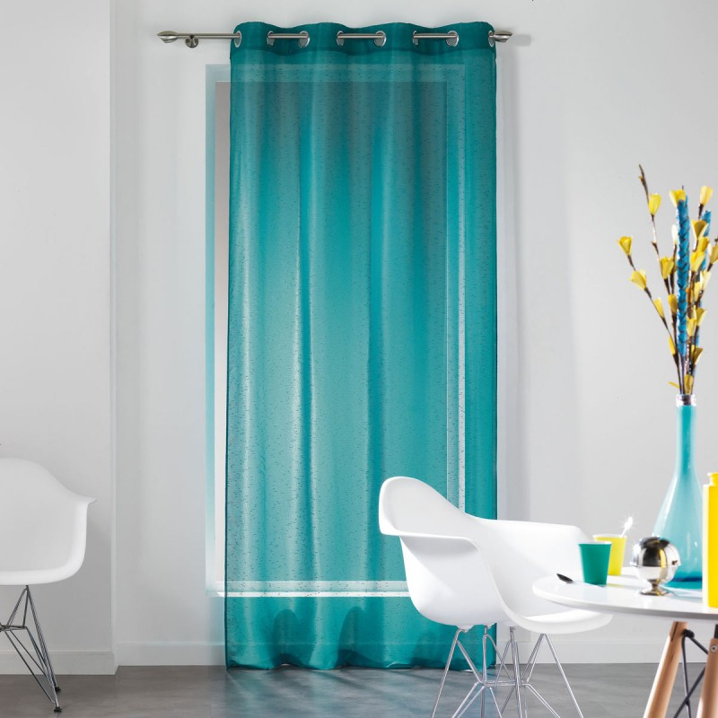 Rideau voilage dandy 140x240cm turquoise for Rideau turquoise