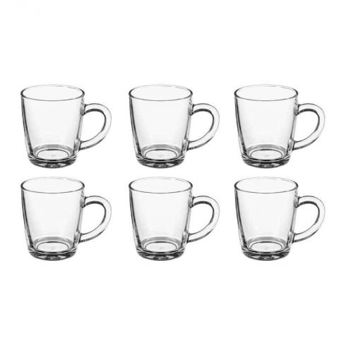 "Lot de 6 Mugs en Verre ""Rond"" 34cl Transparent"