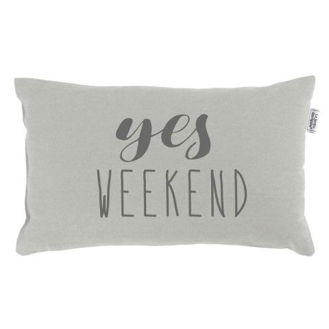 """Coussin Déco """"Yes Weekend"""" 30x50cm Lin"""