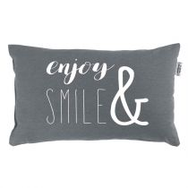 "Coussin Déco ""Enjoy & Smile"" 30x50cm Anthracite"