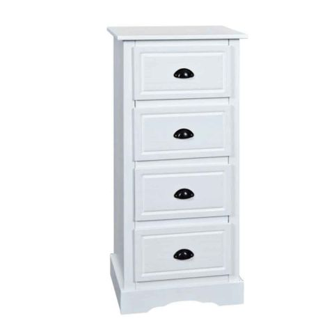 "Commode 4 Tiroirs en Bois ""Cotto"" 109cm Blanc"