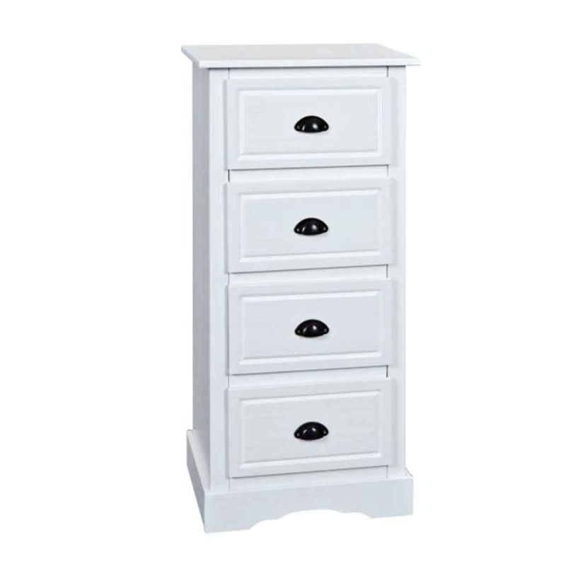 Commode 4 tiroirs en bois cotto 109cm blanc - Commode 4 tiroirs blanc ...