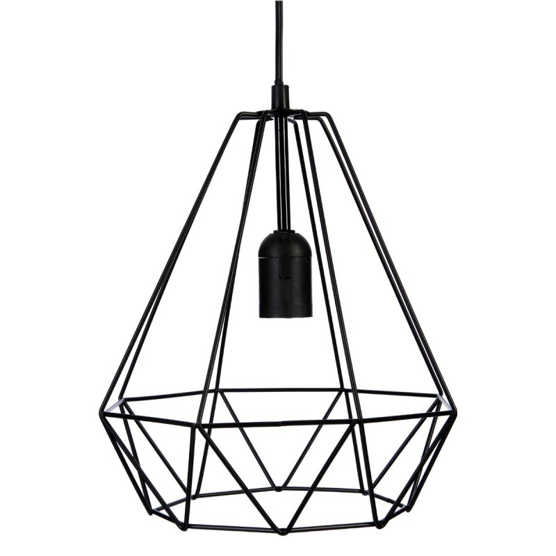 Lampe suspension m tal 26cm noir for Suspension metal noir