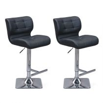 "Lot de 2 Tabourets de Bar ""Adonis"" Noir"