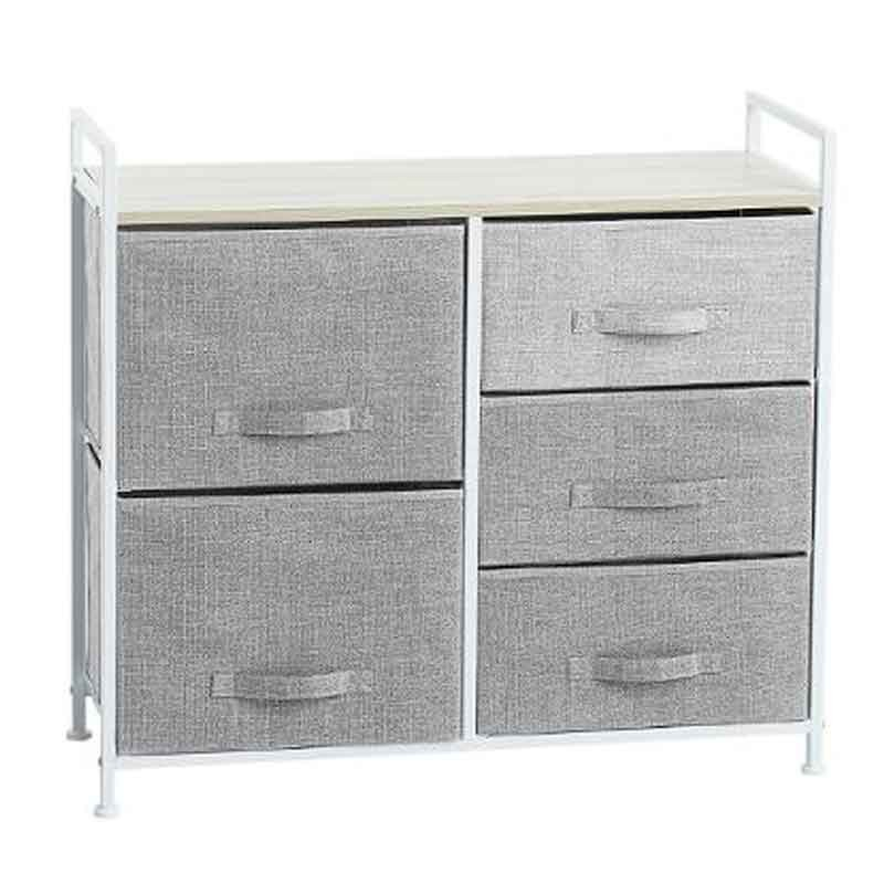 meuble de rangement 5 tiroirs 83cm gris clair. Black Bedroom Furniture Sets. Home Design Ideas