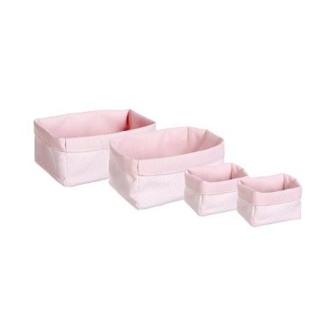 "Set de 4 Paniers de Rangement ""Sweet Pop"" Rose"