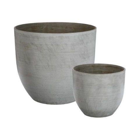 "Set de 2 Pot en Pierre ""Sandy"" Gris"