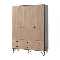 "Armoire 3 Portes ""William"" 205cm Naturel & Noir"