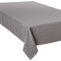 "Nappe Anti-Tâches ""Jacquard Arabesque"" 150x300cm Gris"