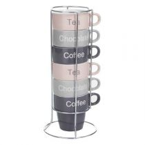 "Set de 6 Mugs sur Rack ""Hello"" Multicolore"