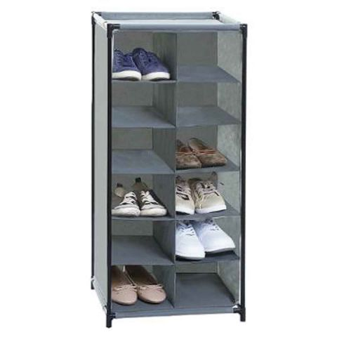 rack chaussures 12 paires 91cm gris. Black Bedroom Furniture Sets. Home Design Ideas