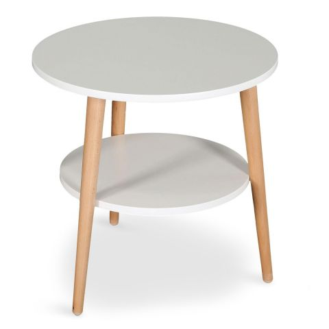 """Table Basse d'Appoint """"Duddy"""" 45cm Blanc"""