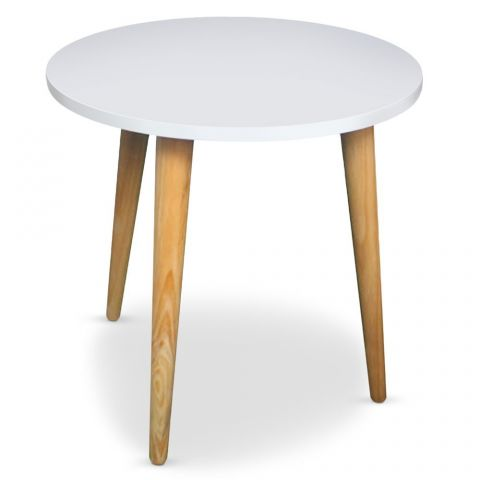 """Table d'Appoint Ronde Scandinave """"Atome"""" 48cm Blanc"""